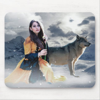 Magical Fantasy Woman with Wolves in Snow Mouse Mat