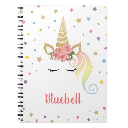 Unicorn & stars personalised notebook