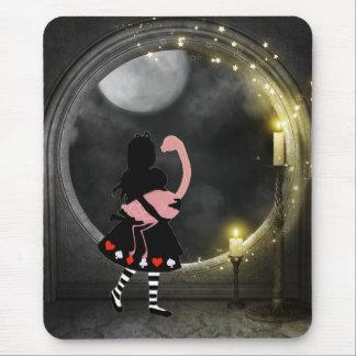 Magical Gothic Candles Alice & Flamingo Mousepad