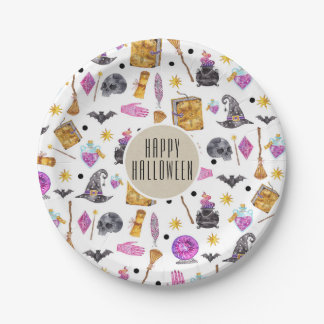 Magical Halloween Watercolor Whimsical Kraft Party Paper Plate