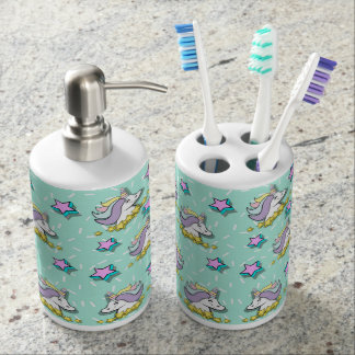 Magical Happy Unicorn And Stars Bathroom Set