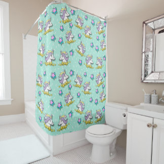 Magical Happy Unicorn And Stars Shower Curtain