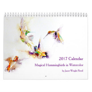 Magical Hummingbirds in Watercolor 2017 Wall Calendar
