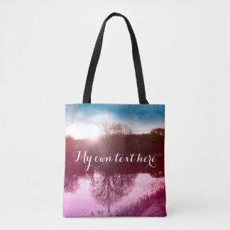 Magical landscape tote bag with your own text