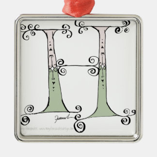 Magical Letter H from tony fernandes design Silver-Colored Square Decoration