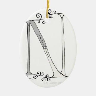 Magical Letter N from tony fernandes design Ceramic Oval Decoration