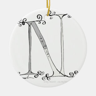 Magical Letter N from tony fernandes design Christmas Ornament