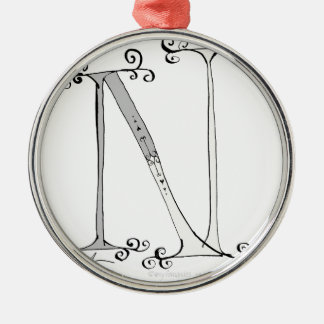 Magical Letter N from tony fernandes design Silver-Colored Round Decoration