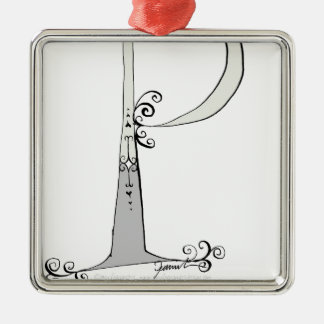 Magical Letter P from tony fernandes design Silver-Colored Square Decoration