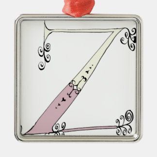 Magical Letter Z from tony fernandes design Silver-Colored Square Decoration