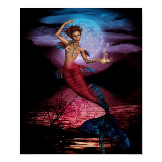 Magical Mermaid Moon Poster Print