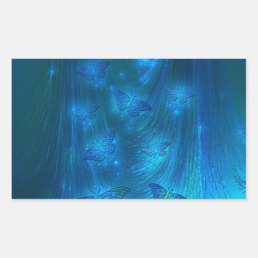 Magical Moths in Blue Rectangular Stickers