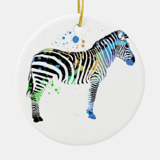 Magical Multi Coloured Zebra Spray Paint style Christmas Ornament