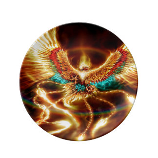 Magical & Mystical Fantasy Flying Fire Phenix Plate