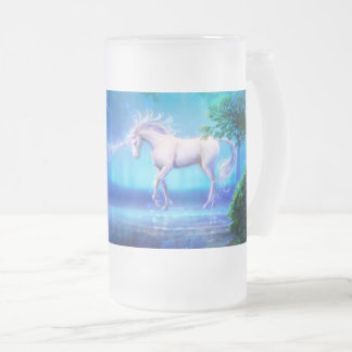 Magical & Mystical Fantasy The Blue Forest Frosted Glass Beer Mug