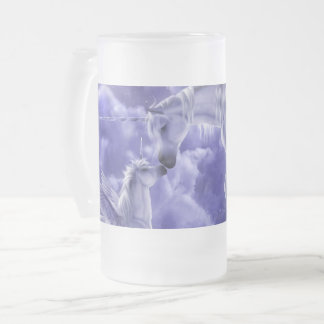 Magical & Mystical Fantasy Unicorns Night Sky Frosted Glass Beer Mug