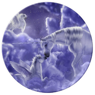Magical & Mystical Fantasy Unicorns Night Sky Plate