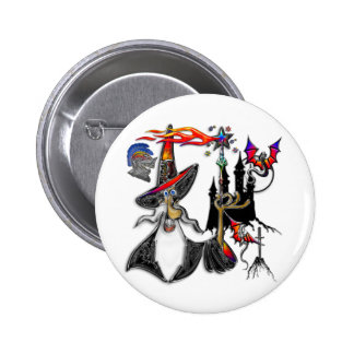 Magical Mystical Fire Wizard Magician 6 Cm Round Badge