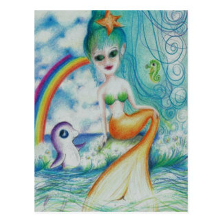 Magical mystical mermaid postcard