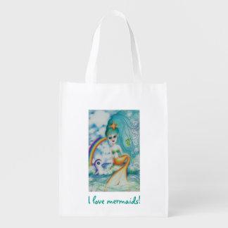 Magical mystical mermaid reusable grocery bag