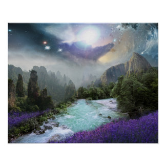 Magical Nature Landscape with Rushing Water Poster