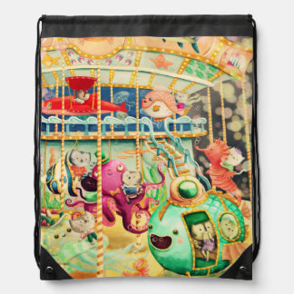 Magical Nautical Carousel Drawstring Bag