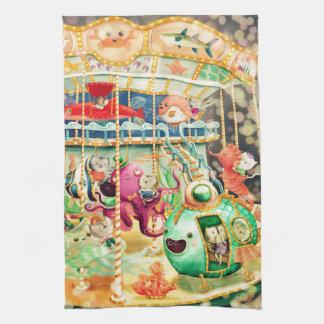 Magical Nautical Carousel Tea Towel