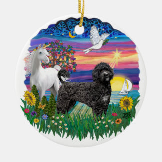Magical Night- Portuguese Water Dog (black) Christmas Ornament