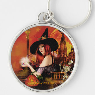 Magical Night Witch Round Silver Keychain