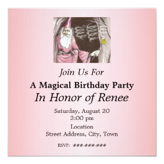 Magical Old Wizard Elf Magic Wand Star Birthday 13 Cm X 13 Cm Square Invitation Card