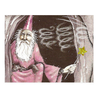 Magical Old Wizard Elf Magic Wand Star Postcard