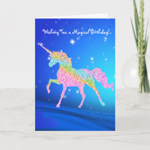 Magical Pastel Rainbow Unicorn Birthday Card