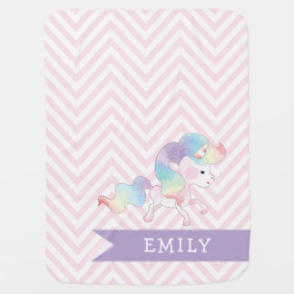 Magical Pastel Unicorn with Name Baby Blanket
