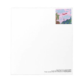 Magical pink landscape with figures notepad