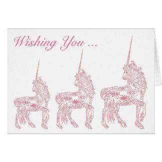 Magical Pink Unicorn Custom Birthday Card