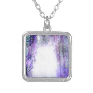 Magical Portal in the Forest Square Pendant Necklace
