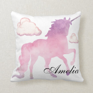 Magical Powdery cotton candy Unicorn in Watercolor Cushion