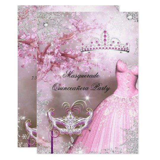 Magical Princess Quinceanera Masquerade Pink Card
