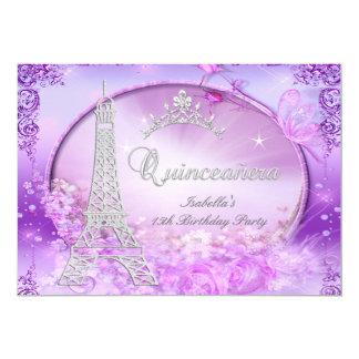 Magical Princess Quinceanera Purple Pink Tiara 13 Cm X 18 Cm Invitation Card