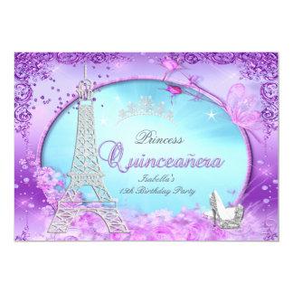 Magical Princess Quinceanera Purple Teal Blue 13 Cm X 18 Cm Invitation Card