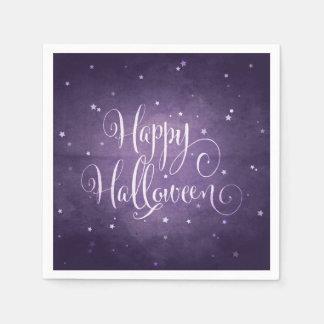 Magical Purple and White Stars Happy Halloween Paper Napkin