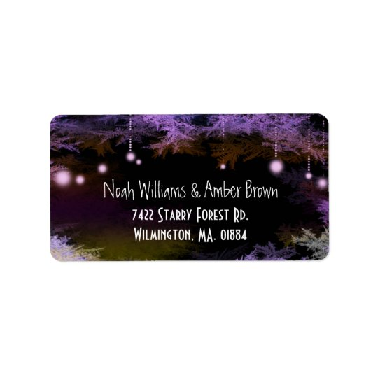 Magical Purple Forest Wedding Label