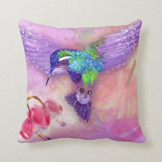 Magical purple hummingbird cushion