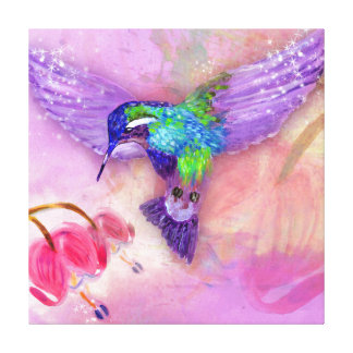 Magical purple hummingbird gallery wrapped canvas
