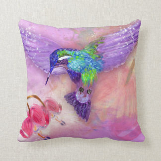Magical purple hummingbird throw pillow