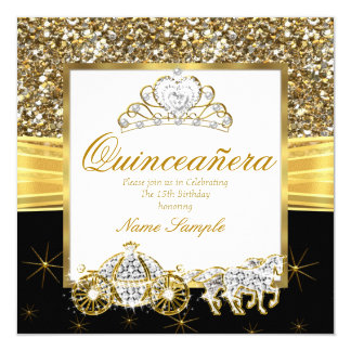 Magical Quinceanera Gold Black Horse Carriage 13 Cm X 13 Cm Square Invitation Card