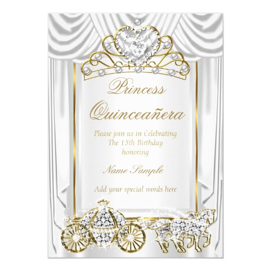 Magical Quinceanera White Gold Card