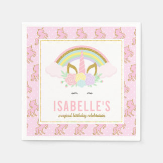 Magical Rainbow and Unicorn Napkins Paper Napkin