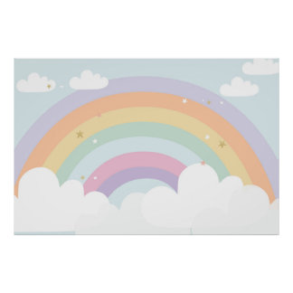 MAGICAL Rainbow BIRTHDAY PARTY BACKDROP Poster