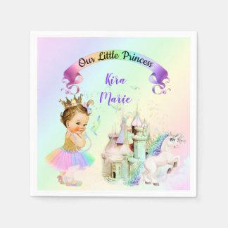 Magical Rainbow Princess Castle Unicorn Disposable Serviette
